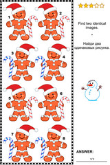 Christmas or New Year themed visual puzzle: Find two identical ginger man images. Answer included.