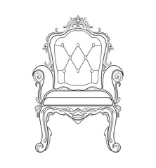 Baroque furniture rich sofa and armchair. Handmade ornamented decor. Vector illustration
