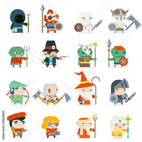 Fantasy RPG Game Heroes Villains Minions Character Vector Icons Set Flat Design Vector Illustration