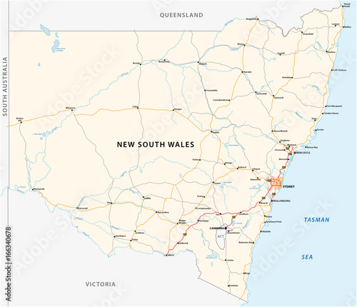 Road Map Australia.Road Map Of The Australian State New South Wales Map Stock Image