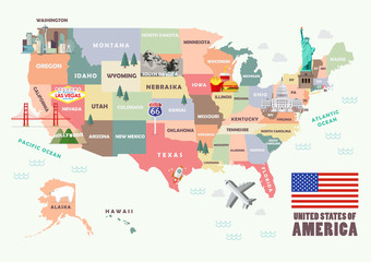 Map of the United States of America with Famous attractions