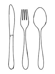 Fork spoon and knife vector set isolated. Cutlery hand drawing