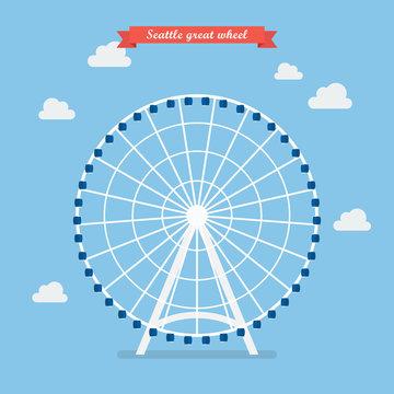 Seattle great wheel. vector illustration