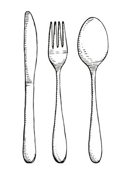 Fork spoon and knife vector set isolated. Cutlery hand drawing illustration