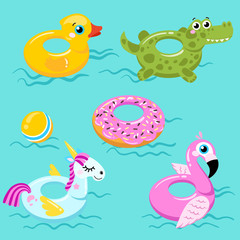 flamingo lifebuoys, duck, unicorn and crocodile lifebuoys on swimming pool background. Vector illustration