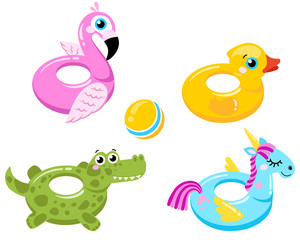 flamingo lifebuoys, duck, unicorn and crocodile lifebuoys isolated on white background background. Vector illustration