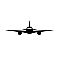Black isolated silhouette of airplane on white background. Front view of aeroplane.