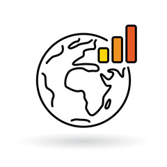 Simple world with global warming chart icon. Earth and climate change sign. Thin line icon on white background. Vector illustration.