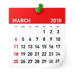March 2018 - Calendar