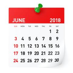June 2018 - Calendar
