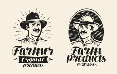 Portrait of happy farmer in hat, logo or label. Handwritten lettering, calligraphy vector illustration