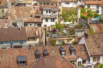 Zurich downtown. Roof top view.