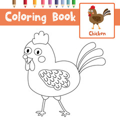 Coloring page of Chicken animals for preschool kids activity educational worksheet. Vector Illustration.