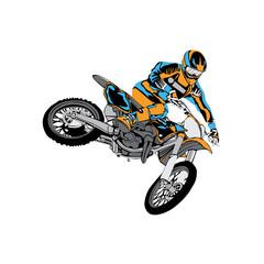 motocross rider badge logo design vector illustration