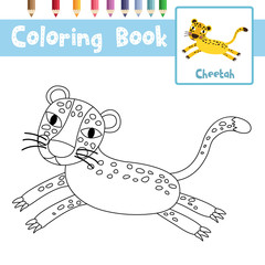 Coloring page of Jumping Cheetah animals for preschool kids activity educational worksheet. Vector Illustration.