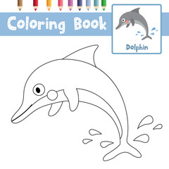 Coloring page of Dolphin animals for preschool kids activity educational worksheet. Vector Illustration.