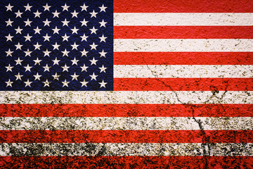 American flag on wall background,concept The 4th of July Independence Day