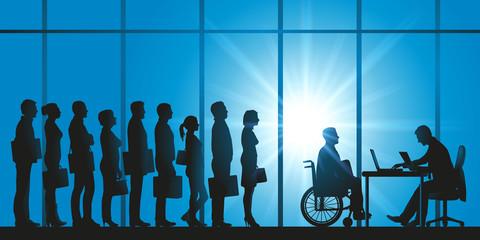 handicap - file d'attente - candidat - sélection - emploi - handicapé - discrimination