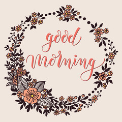 Good morning card with floral background artwork. Elegant ornate floral background. Floral background and elegant flower elements. Design template.