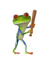 3d illustration of a green cartoon frog holding a baseball bat.