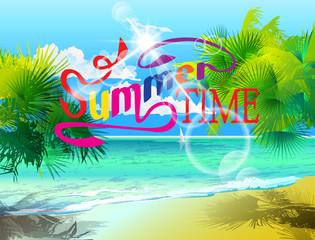 Photo sur Plexiglas Dinosaurs Inscription - Summer time, against the backdrop of palm leaves, sun, beach, sea, blue sky with clouds. Vector.