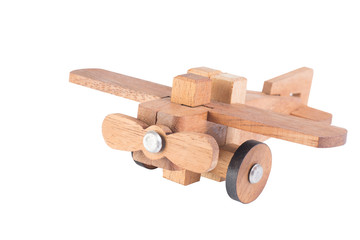 Wooden plane on white background.