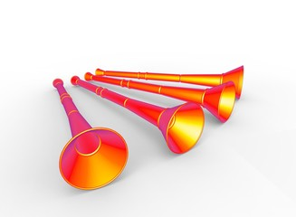3d illustration of vuvuzela. white background isolated. icon for game web.