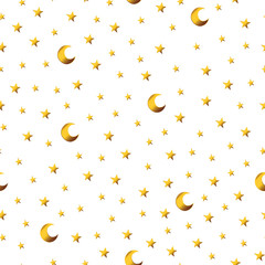 Seamless pattern with gold cartoon stars and moons.