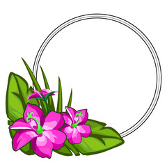 Bright pink flower on large green leaves, flower arrangement with circular frame for text. Holiday concept. Vector illustration in cartoon style isolated on a white background