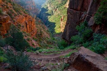 North Kaibab trail and Redwall bridge in Roaring Springs Canyon from Supai Tunnel North Rim, Grand Canyon National Park, Arizona, USA