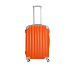 Orange suitcase isolated on white background. Polycarbonate suitcase isolated on white.