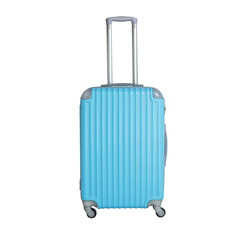 Blue suitcase isolated on white background. Polycarbonate suitcase isolated on white.