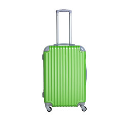 Green suitcase isolated on white background. Polycarbonate suitcase isolated on white.