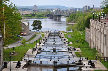 Self adhesive Wall Murals Channel Rideau Canal in downtown Ottawa, Ontario, Canada. Rideau Canal was registered as a UNESCO World Heritage Site for the reason of the oldest continuously operated canal system in North American.