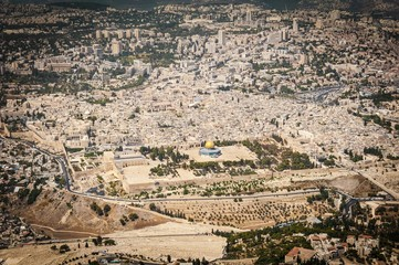 "JERUSALEM, ISRAEL. SEPTEMBER 5, 2012: Dome of the Rock (""Qubat as-Sakhra"") and Al Aqsa Mosque at the Temple Mount, Jerusalem Old City aerial view, Temple Mount crisis stock image."