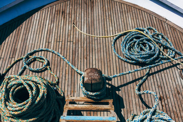 Ship rigging (ropes) on the deck