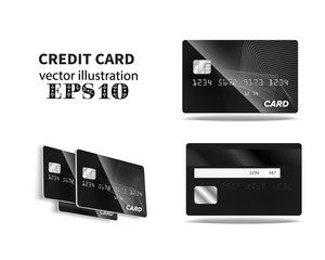 black credit card Front and back view
