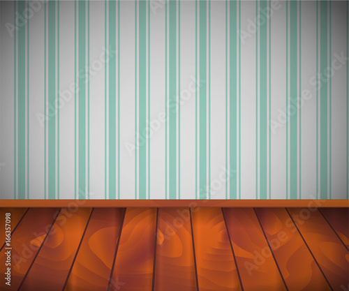 empty room with wooden floor or parquet and striped wallpaper