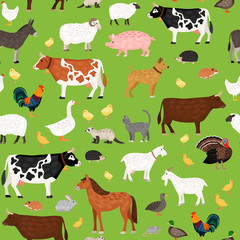 Seamless  pattern of farm animals