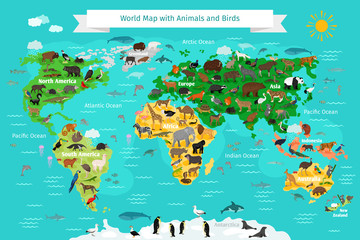 World Map with Animals and Birds