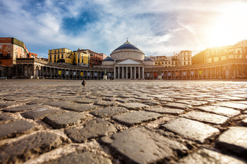 Photo sur Plexiglas Naples Piazza del Plebiscito in Napoli, Italy. Travel destination