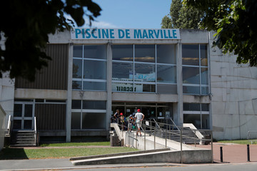 Exterior view of Marville swimming pool in Saint-Denis which is part of the Marville sports complex, near Paris