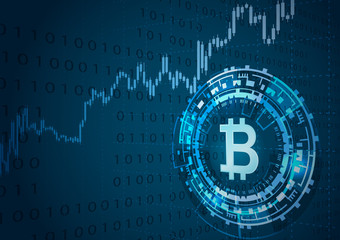 Bitcoin symbol and price chart.