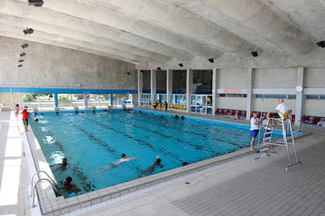 View of the Marville indoor swimming pool in Saint-Denis which is part of the Marville sports complex, near Paris