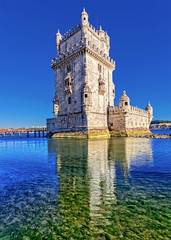 Belam Tower in Lisbon Portugal. Famous touristic attraction and landmark of Lisbon.