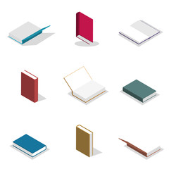 Set of flat books in 3D, vector illustration.