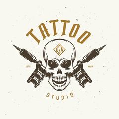 Tattoo studio emblem. Vector vintage illustration.