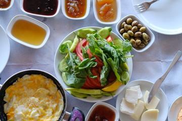 cheese  olives  eggs  salad  jam  breakfast