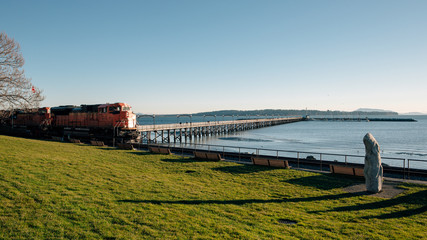 Freight train passing the waterfront