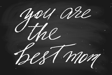 You are the best mom. Handwritten text in chalk style, vector. Each word is on the separate layer.